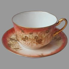 Limoges Oversized Cup Saucer Coffee Cup Antique L. S. & S. Straus Orange