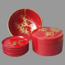 Lacquer Box Coasters Set Matching Bowl Vintage Red Gold Hand Painted