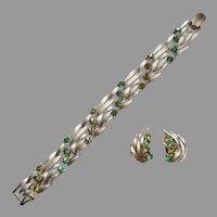 Lisner Bracelet Earrings Leaves Green Rhinestones Vintage Set Olivine Emerald Color
