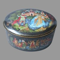 Russian Porcelain Trinket Box Vintage Palekh Tale Of Tsar Saltan