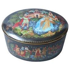 Russian Porcelain Trinket Box Vintage Palekh Tale Of Tsar Saltan