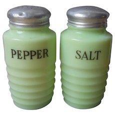 Jeannette Jadite Salt Pepper Shakers Vintage Ribbed Beehive Original Lids