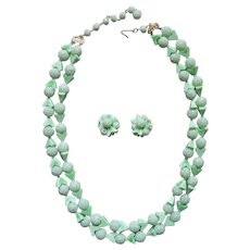 Sugared Beads Plastic Light Green Vintage Necklace Clip Earrings