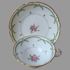 Antique Minton Cup Saucer Green Garlands Pink Roses Gold Hand Painted