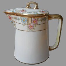 Nippon Syrup Cream Pitcher With Lid Antique Pink Blue Gold Hand Painted