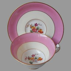 Pink Cream English ca 1930 Cup Saucer Hand Painted Flowers Vintage
