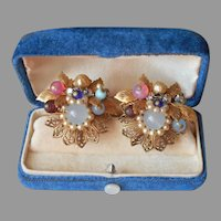 Coro Wired Filigree Glass Beads Faux Pearl Earrings Vintage Screw On