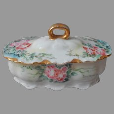 Haviland Limoges Hairpin Box France Antique Porcelain Hand Painted