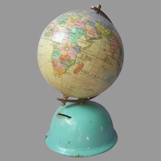 Globe Coin Bank Vintage Aqua Painted Metal Paperboard Korea