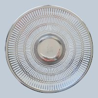 Monogram M Silver Plated On Copper Pierced Footed Serving Tray Plate Vintage