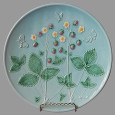 German Majolica Charger Serving Plate Zell Vintage Strawberries 11 Inch