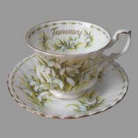 January Snowdrops Royal Albert Flower Of The Month Cup Saucer Vintage English Bone China