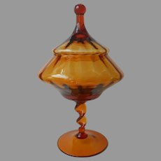 Empoli Tall Candy Jar Circus Tent Lid Amber Vintage Twist Stem Italy