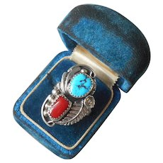 Sharon Cisco Navajo Ring Sterling Turquoise Coral Vintage Size 7