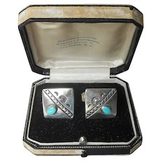 Native American Cufflinks Sterling Silver Turquoise Vintage