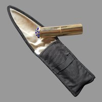 Atomette Perfume Bottle Purse Flacon In Case Vintage Blue Rhinestones