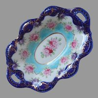 Nippon Era Hand Painted Porcelain Dish Antique Turquoise Cobalt Blue Pink