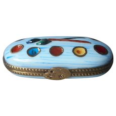 Limoges Hand Painted Collector Trinket Box Paint Box Brush