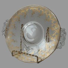 Gold Floral Glass Small Serving Plate Elegant Era Tea Luncheon Table