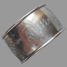 Victorian Napkin Ring Engraved Nellie Antique Silver plated