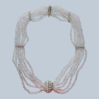 French Art Deco Necklace Swagged Crystal Beads Rhinestone Vintage
