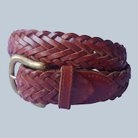 1990s Gap Braided Leather Belt Vintage Women's S