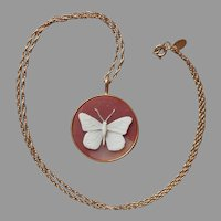 Butterfly Cameo Pendant Necklace Vintage 1980s Resin Citation