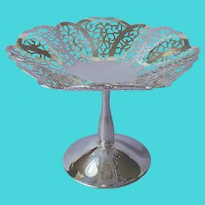 Lovelace Candy Compote Pedestal Dish Vintage Silver Plated Lace International