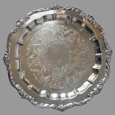 1847 Rogers Bros. Heritage Silver Plated Tray Round Vintage Heavy