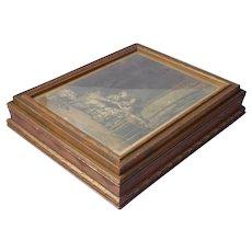 1920s Dresser Box Wood Glass Print Of 18th Century French Ladies Vintage