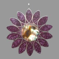 Mexico Taxco Inlay Pin Sterling Silver Vintage Sugilite Crushed Stone Purple