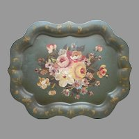 Large Tole Tray Vintage Olive Green Table Size Hand Painted 25 x 19.5