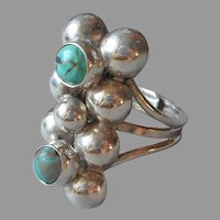 Mexico 980 Silver Turquoise Ring Vintage Adjustable Shank Sterling