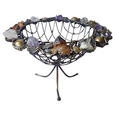 Brutalist Copa Collection Brazil Fruit Bowl Centerpiece Mineral Crystals