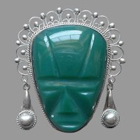 Mexico Green Onyx Carved Mask Head Sterling Silver Pin Dangles