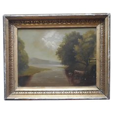 Cows At River Landscape Antique Oil Painting On Board In Frame