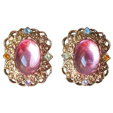 1980s Two Sisters Earrings Pierced Pink Lucite Cabochons Vintage Filigree