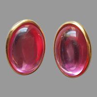 1980s Trifari Pink Lucite Oval Cabochon Pierced Earrings