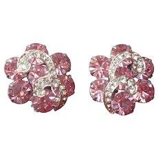Weiss Pink Rhinestones Clip Earrings Silver Tone Vintage Signed