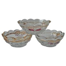 Cherry And Cable Fruit Bowls 3 Antique EAPG Northwood Pressed Glass