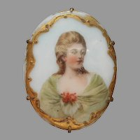 Porcelain Portrait Pin Antique Blonde Lady Green Shawl
