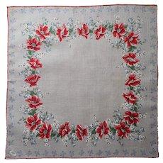 Unused Vintage Burmel Printed Cotton Hankie Label Red Blue Print