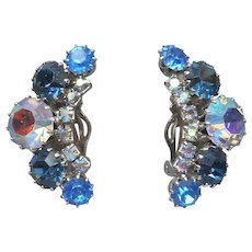 Weiss Blue AB Rhinestone Clip Earrings Vintage Silver Tone Signed