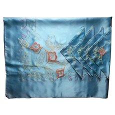 Satin Tablecloth Napkins Set Blue Chenille Chain Stitch Embroidery Vintage Unused