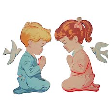 Nursery Wall Plaques Praying Boy Girl Dolly Toy Vintage Paper Board Cut Outs