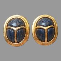 Balmain Paris Scarab Earrings Vintage Clip Faux Lapis Lazuli A Bit TLC
