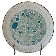 Mid Century Mosaic Tile Platter Tray Vintage White Blue Large Round