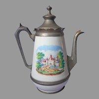 Big Enamel Pewter Colored Metal Antique Coffee Pot Castle Villa Scenes
