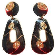 1980s Berebi Black Enamel Gold Tone Drop Pierced Earrings Vintage