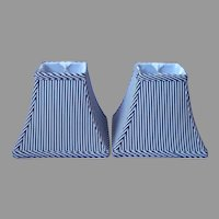 Pair Black White Striped Faux Silk Lamp Shades 8 x 6.5 Vintage